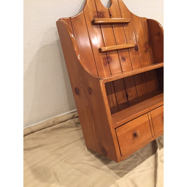 1950s Early American Pine Shelf Unit Telephone For Sale - Image 4 of 13