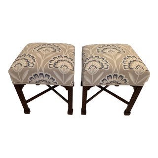 Vintage Benches With Carved Mahogany Bases and Crewel Upholstery -A Pair For Sale