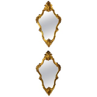 Pair of Early 20th Century Italian Giltwood Mirrors For Sale