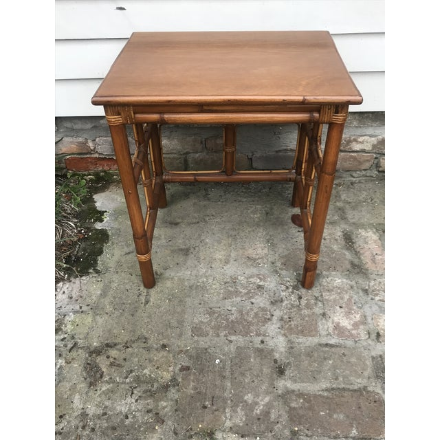 1960s Mid-Century Modern Rattan Nesting Tables - Set of 3 For Sale In New Orleans - Image 6 of 13