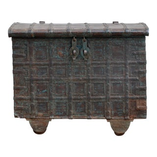 Mid Century Weathered Bronze Clad Wood Trunk For Sale