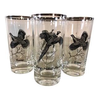 Vintage Silver Game Bird Drinking Glasses, Set of 4 For Sale