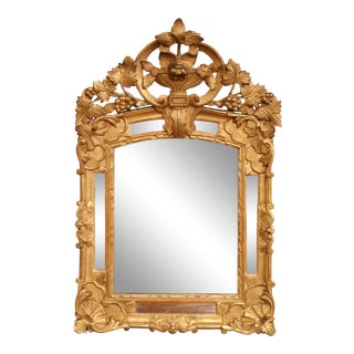 18th Century French Louis XV Carved Giltwood Provencal Mirror With Vine Decor For Sale