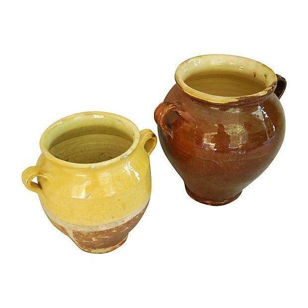 French Glazed Double Handled Confit Pots - Pair - Image 2 of 7