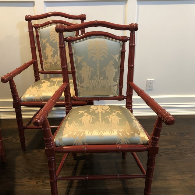 Asian 1990s Vintage Faux Bamboo Dining Chairs - Set of 6 For Sale - Image 3 of 12