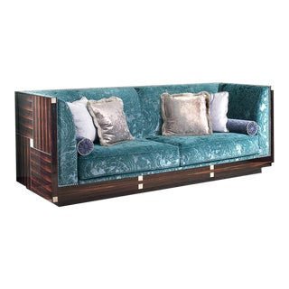 Sofa With Exotic Polished Macassar Ebony Veneers Mother of Pearl For Sale