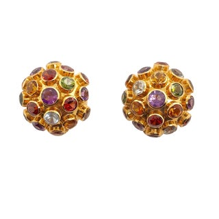 H. Stern 18k Gold Gemstone Sputnik Clip Earrings For Sale