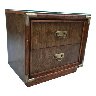 Mid-Century Modern Drexel Accolade Style Two-Drawer Campaign Burlwood Nightstand For Sale