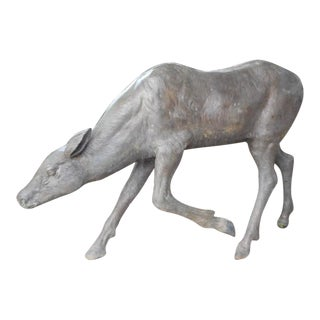 Life Size Bronze Deer Garden Statue For Sale