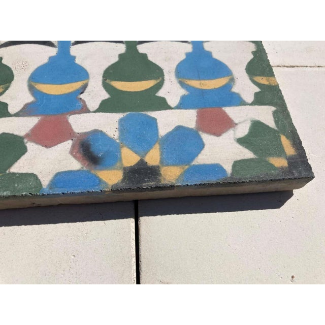 Moroccan Encaustic Cement Tile Border with Moorish Fez Design For Sale - Image 11 of 13