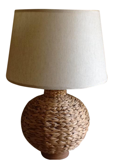 Boho Chic Natural Bamboo Raffia Rope Table Lamp