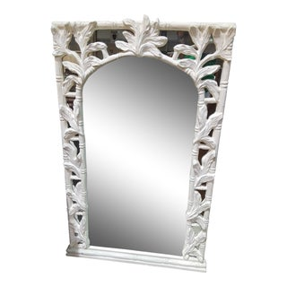 Large Vintage Hollywood Regency Faux Bamboo & Palm Leaf Mirror