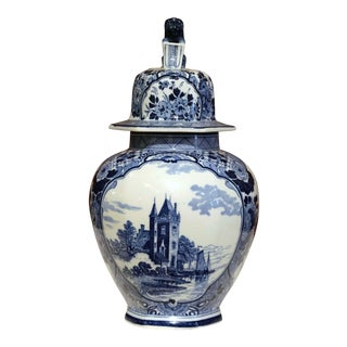 Midcentury Dutch Hand-Painted Blue and White Faience Delft Ginger Jar With Lid For Sale