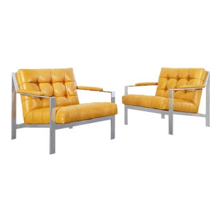 Vintage Chrome Biscuit Tufted Lounge Chairs by Cy Mann - a Pair For Sale