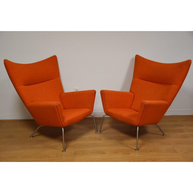 Hans J. Wegner CH445 Orange Lounge Chairs - a Pair For Sale - Image 10 of 10