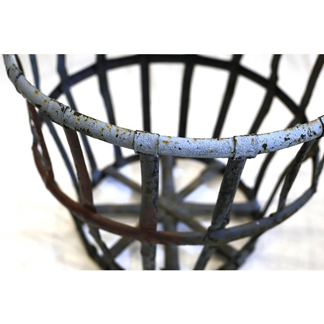 Late 19th/Early 20th C. Distressed Industrial Iron Basket C. 1880-1920s For Sale - Image 4 of 6