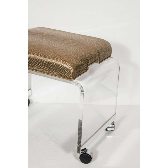 Mid-Century Modern Mid-Century Modernist Waterfall Lucite Stool with Faux Bronze Metallic Python For Sale - Image 3 of 7