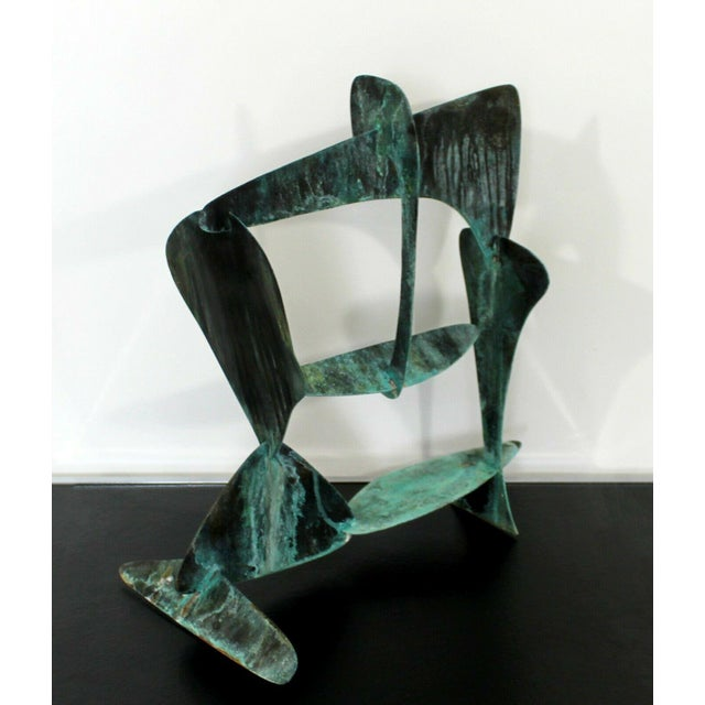 1970s Mid Century Modern Brutalist Copper Metal Abstract Table Sculpture 1970s For Sale - Image 5 of 7