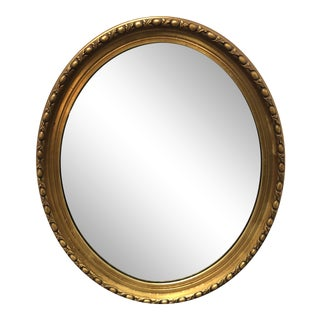 Vintage Round Gold Finish Wall Mirror For Sale
