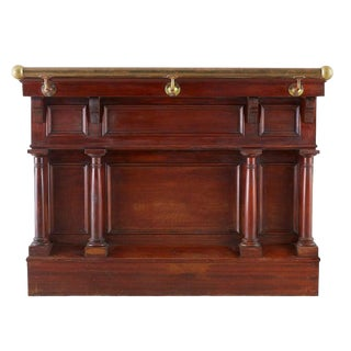 Early 20th Century Mahogany Dry Bar With Brass Rail For Sale