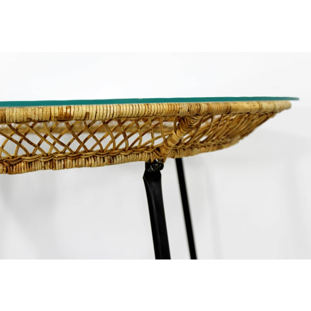 1960s Mid-Century Modern Danny Fong Rattan and Iron Patio Dining Set - 3 Pieces For Sale In Detroit - Image 6 of 10
