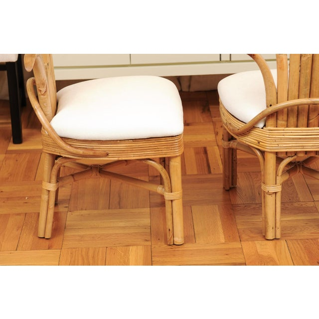 White Jaw-Dropping Set of 8 Custom Made Palm Frond Dining Chairs, Circa 1950 For Sale - Image 8 of 13
