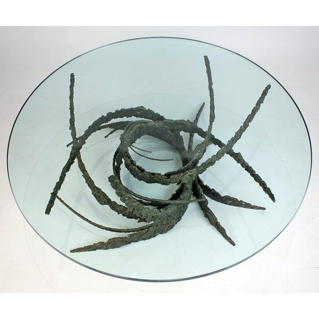 Cast and Welded Sculptural Bronze Round 'Swirl' Coffee Table by Daniel Gluck For Sale - Image 11 of 12