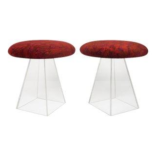 Vladimir Kagan Velvet & Lucite Stools - A Pair For Sale