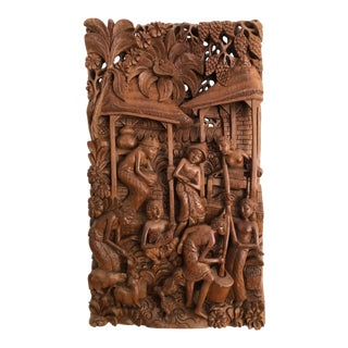 Mid Century High Relief Carved Wall Mounted Sculpture of Tribal Village 11 X 19 For Sale