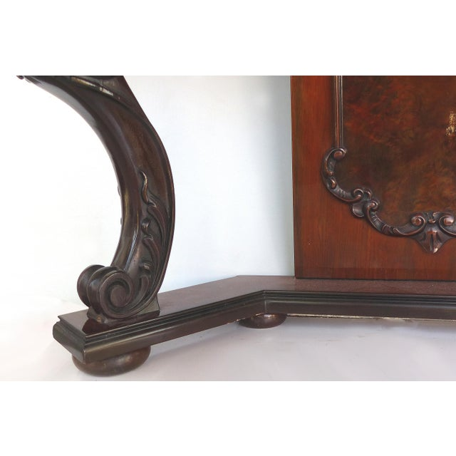 Gold Carved Two-Drawer Console Table With Mahogany, Satinwood and Ebonized Wood For Sale - Image 8 of 13