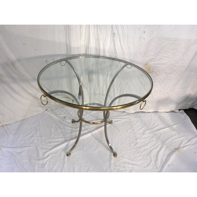 Jansen Style Steel & Brass Table For Sale - Image 4 of 9