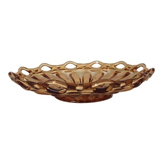 Vintage Amber Lace Edge Glass Bowl For Sale