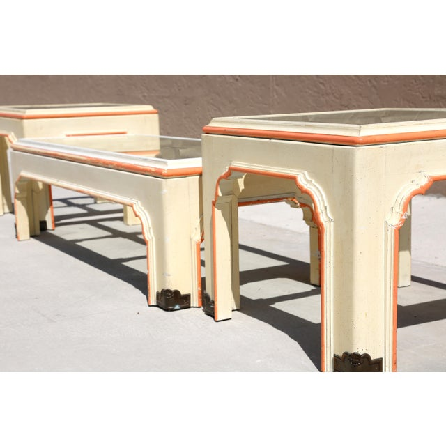 1960s 1960s Hollywood Regency Pagoda Cocktail Table W Brass Inlay and Glass Includes Side Tables - Set of 3 For Sale - Image 5 of 13