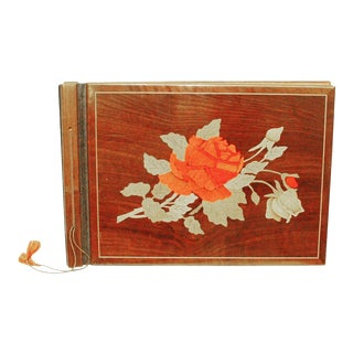 Vintage Wooden Scrapbook With Flower Inlay