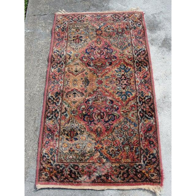 Ruby Red Vintage Mid-Century Karastan Kirman Wool Area Rug - 2′2″ × 4′ For Sale - Image 8 of 8