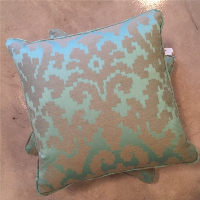 Geometric Turquoise Throw Pillows - Pair For Sale - Image 5 of 5
