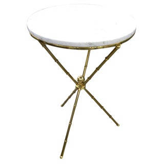 1960s Italian Faux Bamboo Brass and Marble Gueridon Table For Sale