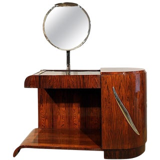 1930s Art Deco Vanity, Mahogany, Swiveling Luminescent Mirror, France For Sale
