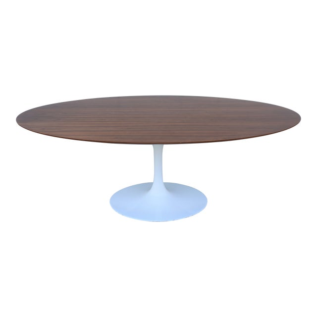 Eero Saarinen Style MidCentury Modern Oval Tulip Walnut - Walnut tulip dining table