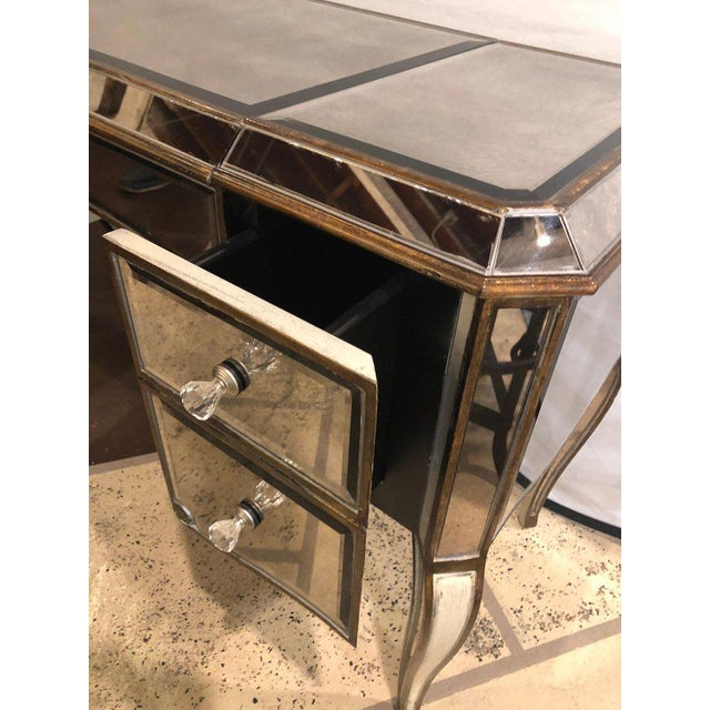 Crystal Hollywood Regency Style Mirror Flip Top Vanity Desk or Dressing Table For Sale - Image 7 of 12