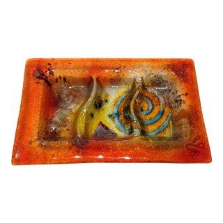Fused Glass Art Dish For Sale