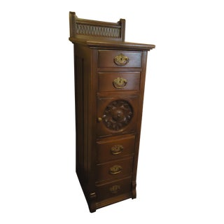 1870- 1893 Antique Nelson Matter & Co. Mahogany Carved Wood File Storage Cabinet For Sale