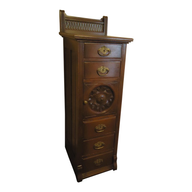 1870- 1893 Antique Nelson Matter & Co. Mahogany Carved Wood File Storage  Cabinet For - 1870- 1893 Antique Nelson Matter & Co. Mahogany Carved Wood File