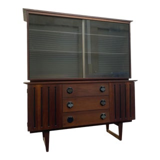 1960s Distinctive by Stanley Furniture Mid-Century Dark Wood Credenza With Glass Display For Sale