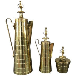 Tommi Parzinger for Dorlyn Three-Piece Brass Coffee Service For Sale