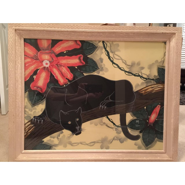 "Vintage Mid-Century super rare William ""Billy"" Seay, Turner Mfg Co black panther lithograph in its original frame...."