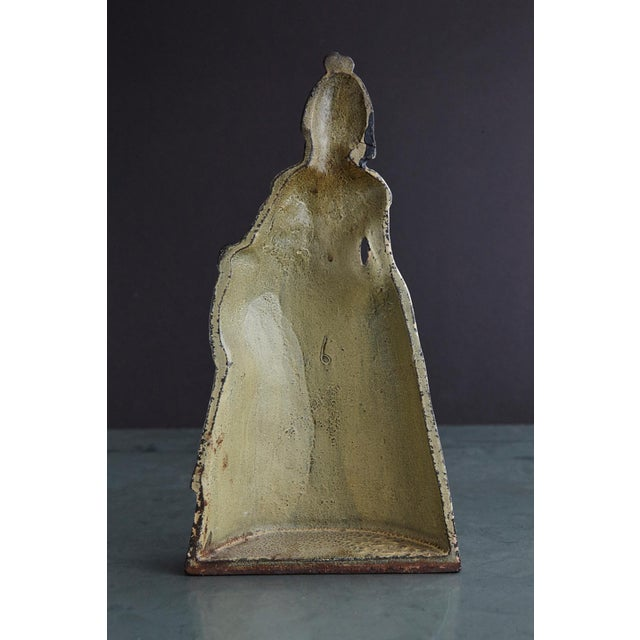 19th Century Cast Iron Hand Painted Polychrome Woman With Straw Hat Doorstop For Sale - Image 4 of 9