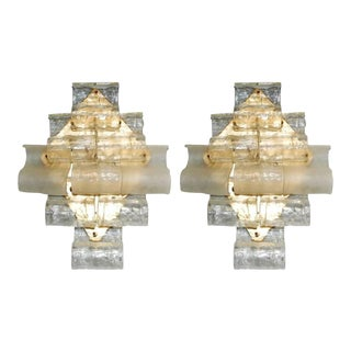Italian Murano Waves Glass Sconces by Mazzega - a Pair For Sale