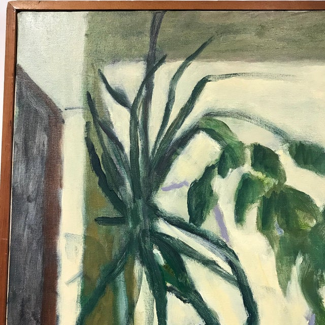 Mid Century Modern Signed Oil Painting on Canvas For Sale - Image 4 of 6