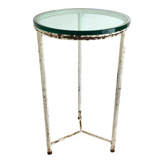 Glass Top Iron Side Table For Sale